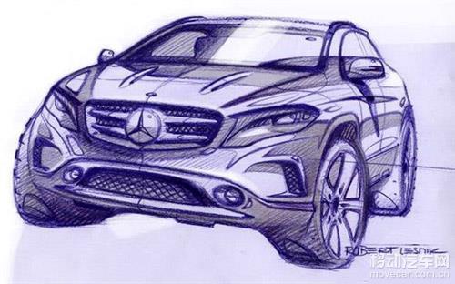 奔驰gla量产版手绘图发布 9月首发