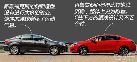 此次改款中,福特没有对福克斯的侧面造型进行改动,基本上保留了现款车型的整体轮廓。科鲁兹的侧面造型显得很饱满,B柱后下滑的弧线很漂亮,看上去比福克斯更协调。目前新款福克斯的车身尺寸数据也还没有公布,所以俩的块头就没法进行精确比较。